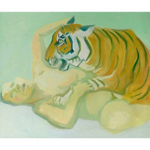 When Art Basel Miami is approaching... (Maria Lassnig, Sleeping with a tiger, 1975) ☀️🌴🎨🐅 . . ....