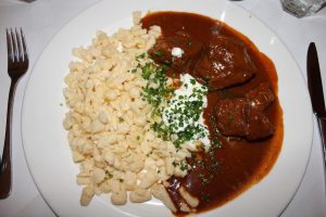 Channeling my inner Austrian with some veal goulash and spätzle Amacord Cafe