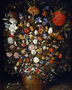 W110 N3/228 • Flowers in a Wooden Vessel By: Jan Brueghel the Elder Located in: Kunsthistorisches Museum,...