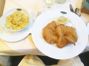 Vienna's Original Wienerschnitzel, served with Potato Salad (Erdäpfelsalat) (EUR 19.8 + 4.10). Honestly, the best wienerschnitzel I've...