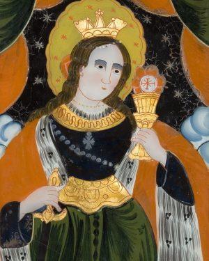 Barbara von Nikomedien oder besser bekannt als Hl. Barbara - hier ein Hinterglasbild aus unserer Sammlung! (c)...