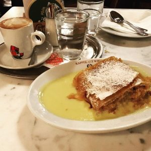 Dinner @ Kaffee alt Wien: house special Goulash. Dessert: Apfelstrudel with Viennese coffee ...