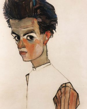 Self-Portrait with Stripped Shirt, Egon Schiele. 1910 — With his signature graphic style, embrace of figural distortion,...