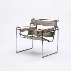 """The armchair B 3 designed by Marcel Breuer in 1925, and later known as the classic """"Wassily,""""..."""
