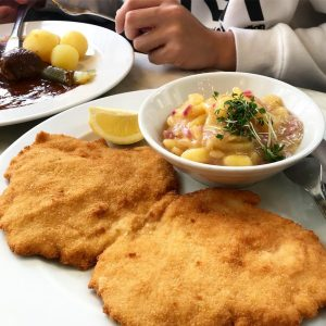 First time trying traditional wiener schnitzel 😊😊 Cafe Diglas Wollzeile