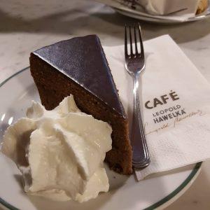 Enjoying the chocolate cake!! Café Hawelka