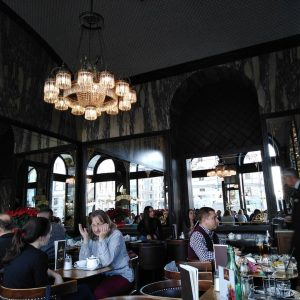 Vienna hits. Wiener Schnitzel in a Viennese Coffe house. Cafe Schwarzenberg