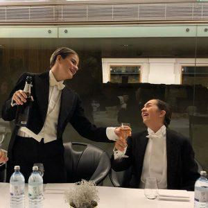 """Nach dem erfolgreichen """"Comedian Harmonists"""" Auftritt bei der Silvester-Gala darf ein bisschen gefeiert ..."""