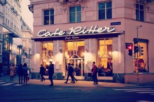 The famous café Ritter on Mariahilferstrasse. Est. 1867 it's one of the oldest Kaffehäuser (cafés) in Vienna....