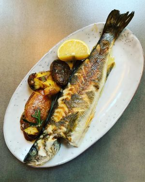 That was Lunch today @albert___bar Seabass with rosmary potato or Kaaspressknödel with sourcream ...