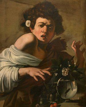 #Caravaggio (Michelangelo Merisi) Ragazzo morso da un ramarro c. 1597/98. @dailyart_official Mentre sta per afferrare le succulente...