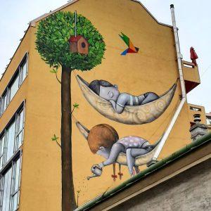 title: Gemeinschaftsbaum artist: @seth_globepainter for: @callelibre #callelibre #callelibrefestival #streetartwien #streetart #streetarteverywhere #viennastreetart #wallsofvienna ...