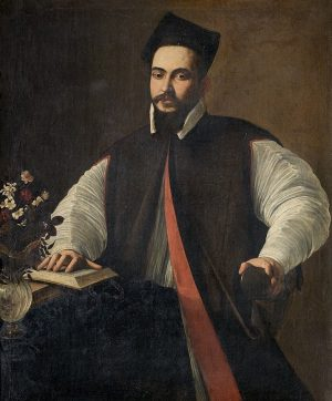 Did we interrupt Maffeo Barberini reading? His right hand is resting on the page of an open...