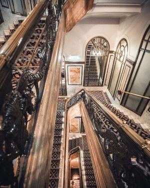 Our iconic staircase, with golden railings ⚜️ Walk down these stairs & feel like a royal queen...