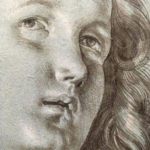 #albrechtdürer 'Head of a lute-playing Angel', 1506, #brush #heightenedwithwhite #bluepaper @albertinamuseum #exhibition #dürer #drawinglove #artlovers #drawing #zeichnungen...