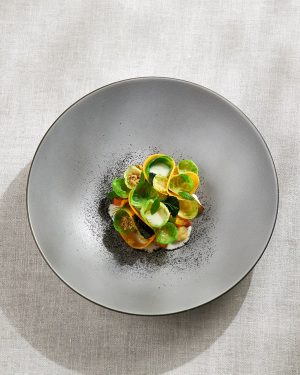 brussel sprouts & bouchot mussels with pumpkin & hot lemon chili #inspiredbynature #foodofaustria #theworlds50best #lesgrandestablesdumonde #heinzreitbauer #michelinguide...