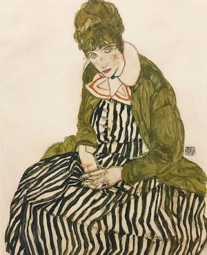 Portrait of Edith Schiele the artist's wife seated with a Striped Dress, Egon Schiele (1915) Leopold Museum