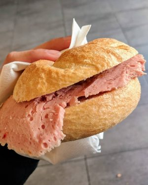 Tried this Austrian street food known as Leberkase! I thought it would have ...