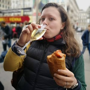 Austrian sausage and champagne outside the opera house. What's not to love? Bitzinger