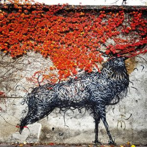 When streetart meets nature! ART☄ ARTE ☄ KUNST En el momento perfecto se encontraron, se entremezclaron el...