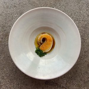 Steamed Napa cabbage, seasoned with dark shoyu made from einkorn wheat and covered with char caviar in...
