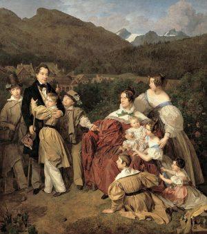 Ferdinand Waldmüller, Der Notar Dr. Josef August Eltz mit seiner Gattin Caroline, geb. Schaumburg, und seinen acht...