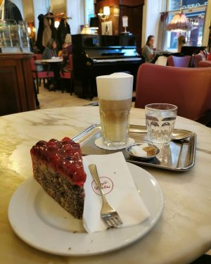 Rainy, coffee break ☕🍰 #coffeehouse #coffee #coffeetime #kaffeehaus #kaffee #torte #cake #rainyday #rainy ...