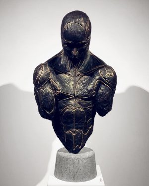 «Prometheus» Bronze sculpture, with hand mill-cutted lines in an edition of 5 + ...