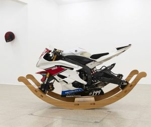 Alexandra Bircken, Lop Lop, 2019. Yamaha R6 motorcycle on oak rockers. From the solo exhibition Unruhe at...