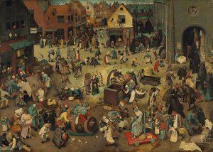 O COMBATE ENTRE O CARNAVAL E A QUARESMA Pieter Brueghel, o Velho (c.1525-1569) Óleo sobre madeira de...