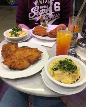 Wednesday evening we had the traditional Pork Schnitzel and potato salad and the ...