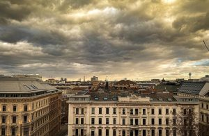 Dramatic clouds over Vienna city centre. Got to love the architecture here. . ...