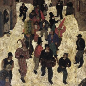It's the last day of carnival! The Tyrolean painter Alfons Walde presents the celebrating carnival procession in...
