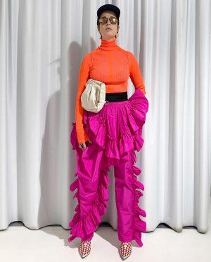 esther ready for the opera #rufflepants #driesvannotenxlacroix #turtleneck #ring #earring #sunglasses #acnestudios #beltbag #rafsimonsxeastpak #ankleboots #haiderackermann #cap...