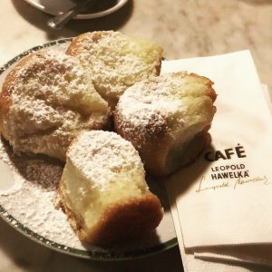 Fresh, warm BUCHTELN (yeast dough with icing sugar) every evening around 20.00 at #cafehawelka 📍 #vienna Absolutely...