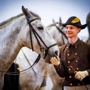 Lipizzaner Siglavy Melodia and Rider Florian E. Zimmermann having a laugh and an award after the morning...