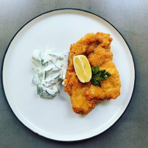 Today lunch @albert___bar Fried breaded chicken 🍗 with creamy cucumbers 🥒 or Stuffed ...