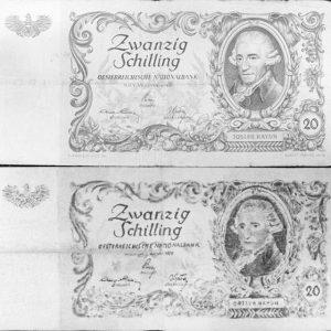 Wir sind uns noch nicht ganz sicher, ob wir die 20 Schilling-Banknote, die - zumindest in Form...