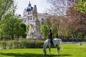 Austria Takes First Steps In Easing Restrictions VIENNA, AUSTRIA - APRIL 15: Riders of the Spanish Riding...