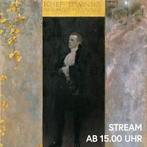 Gustav Klimt präsentiert den Schauspieler Josef Lewinsky in seiner Rolle als Carlos in ...
