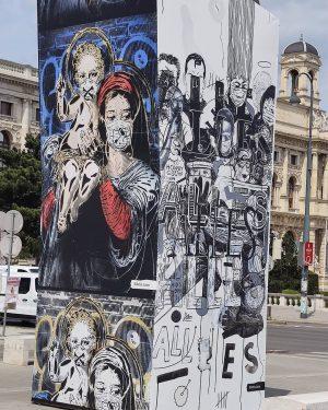 Museums Quartier @artis.love Vienna, Austria #quarantine #quarantineart #vienna #wien #austria #museumsquartier #mumok #mahu #art #billboard MQ –...