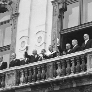 The Austrian State Treaty was signed 65 years ago today. The pictures on the balcony of the...