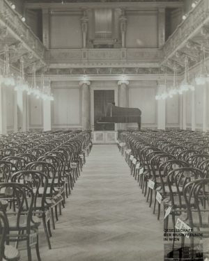 "#150yearsofMusikverein #9 The ""Kleine Musikvereinssaal"" – the Small Hall, known today as the ""Brahms-Hall"" in 1911 with..."
