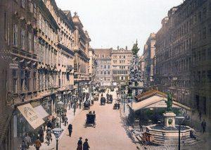 Wir entlassen Sie mit dieser Aufnahme ins Wochenende – der Graben, Wien, um 1900 (Autor unbekannt, public...