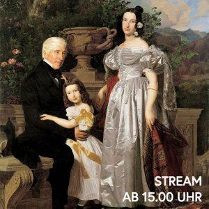 Ferdinand Georg Waldmüller präsentiert uns das Familienidyll des fürstlich Esterházy'schen Rats Mathias Kerzmann mit seiner zweiten Gattin...