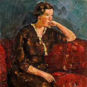 *Anton Faistauer,Junge Frau in rotem Kleid auf rotem Sofa, 1915, Limit: 60.000 €* ...