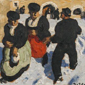 """Für Abkühlung an diesen heißen Tagen sorgt die """"Begegnung"""" von Alfons Walde. Nuanciert untersucht der Künstler den..."""
