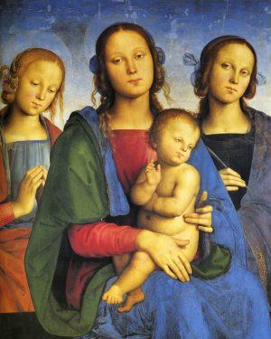 La Virgen y el niño entre Santa Catalina de Alejandría y un Santo, fue pintada hacia 1495...