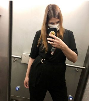 back at the office, saftey first 😷#wearamask #museumstaff #elevatorselfie MAK - Museum of Applied Arts