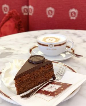 Happiness in one picture 🥰⁣ .⁣ .⁣ .⁣ #sacherlove #originalsachertorte #cafesacher #vienna #salzburg #graz #innsbruck #parndorf #sachertorte...